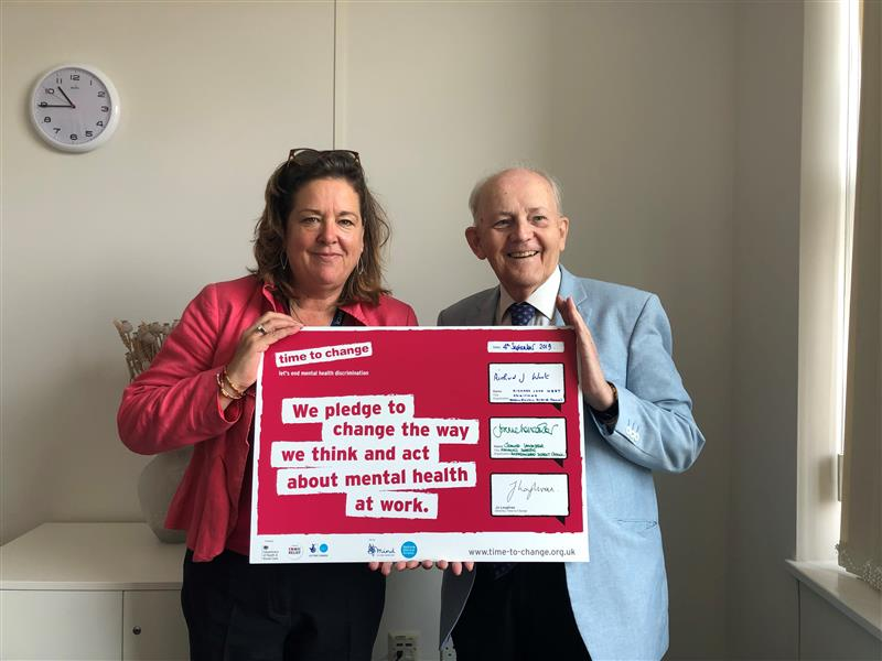 Joanne Lancaster and Richard West supporting mental health campaign